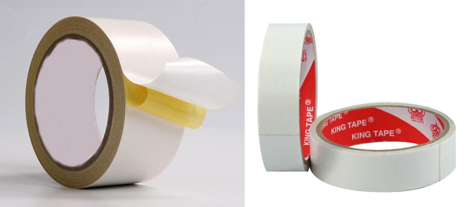 băng keo 2 mặt trắng dầu và trắng nước